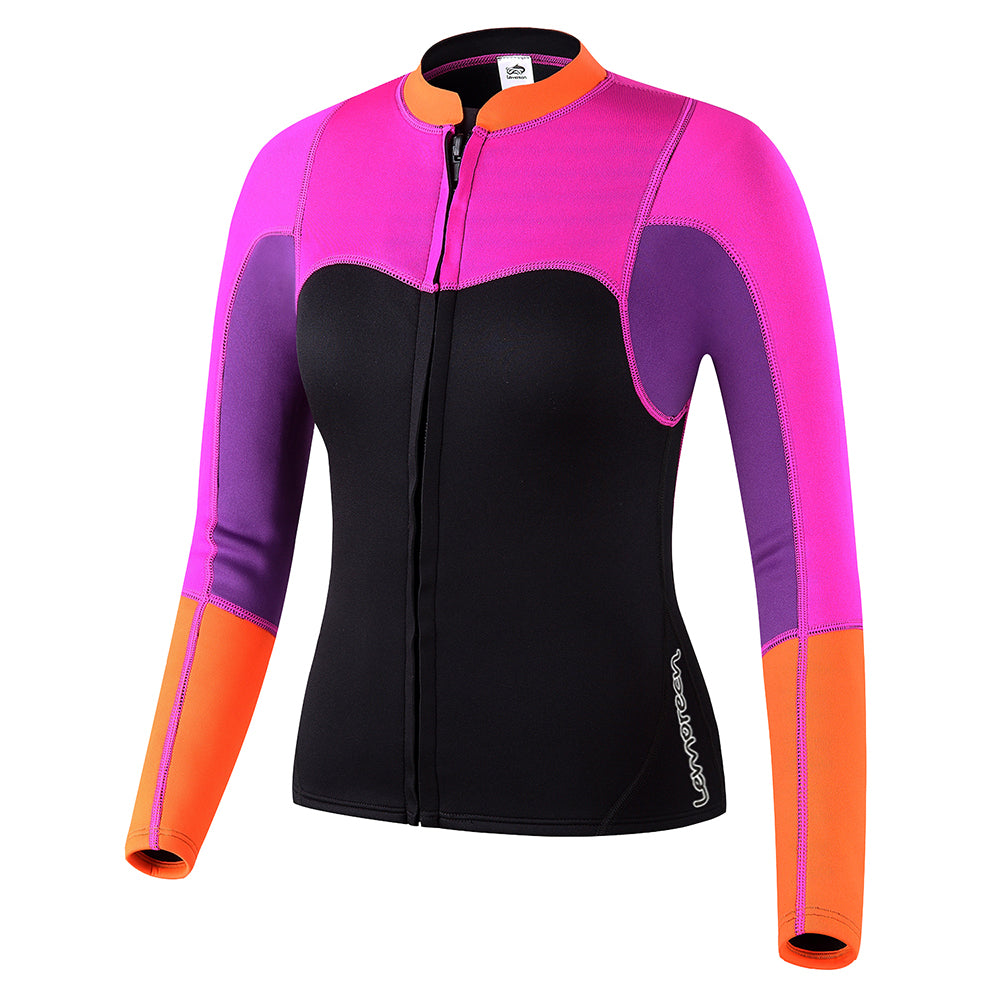 Lemorecn Womens 2mm Neoprene Long Sleeve Jacket Front Zipper Wetsuit T b65252416