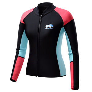 Lemorecn-women's-blue-black-red-long-sleeve-wetsuit-top