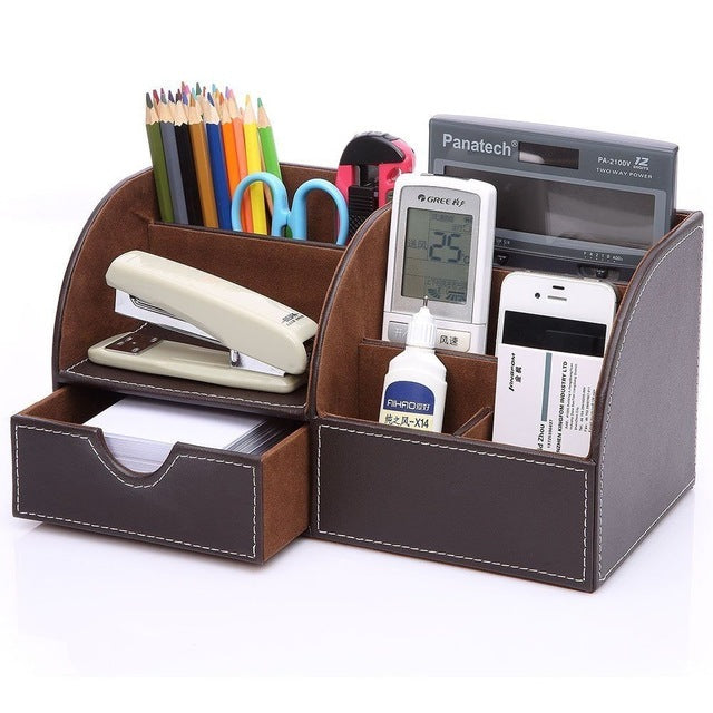 PU Leather Desk Pen Pencil Holder 7 Storage Compartments Multifunctional  Office ...