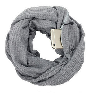 Knit Infinity Scarf With Pocket