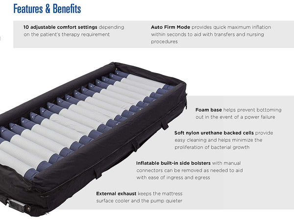 Invacare MicroAIR Lateral Rotation Bariatric Low Air Loss Mattress - 600 lb. Weight Capacity, Mattress Only