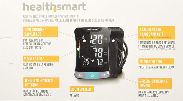 HealthSmart Premium Blood Pressure Monitor for Upper Arm with Clinically Accurate Talking LCD Screen