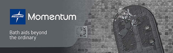 Medline Momentum Stand Steady Bath and Shower Mat with Exfoliating Foot Scrubber, Non Slip Bath Mat for Tub, Microban Antimicrobial Protection, Gray