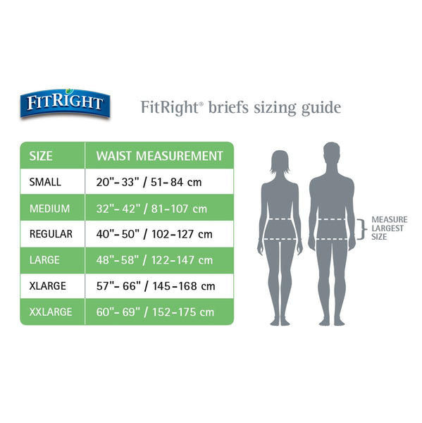 FitRight Basic Adult Incontinence Unisex Briefs with Tabs - Light Absorbency Case of 100 Size Guide