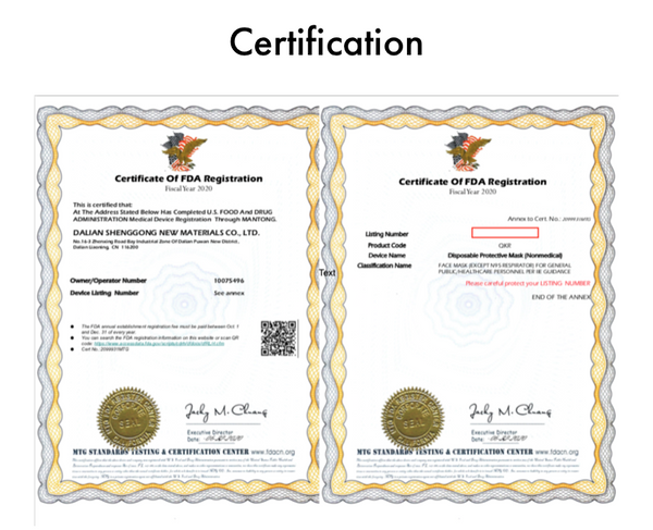DTMI 3-Ply Earloop Disposable Protective Masks certificates
