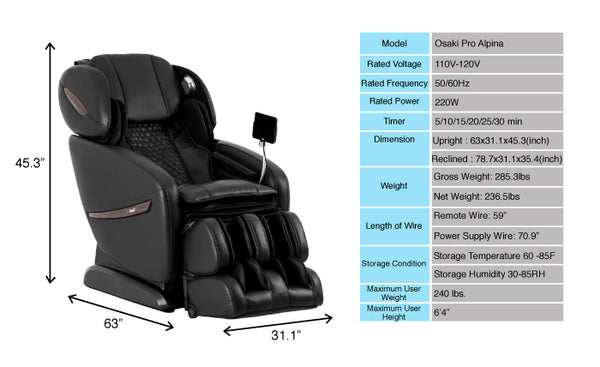 Osaki Pro Alpina Reclining Massage Chairs with AirBag Massage, Heat Therapy & Seat Vibration