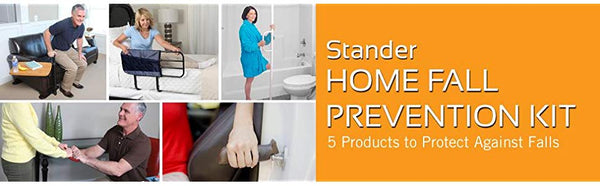 Stander 5 Piece Fall Prevention Kit - All in one Kit Includes Extendable Bed Rail, Chair Handle & Swivel Tray Table, Tension Mounted Grab Bar, Auto Grab Bar & Standing Handlev