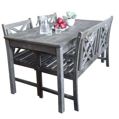 Vifah Renaissance Outdoor 4-piece Hand-scraped Wood Patio Dining Set with 4-foot Bench - Senior.com Patio Furniture