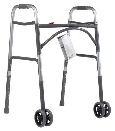 Dynarex Heavy Duty Lightweight Folding Bariatric Walkers - 500 lb Cap - Senior.com 2 Button Walkers