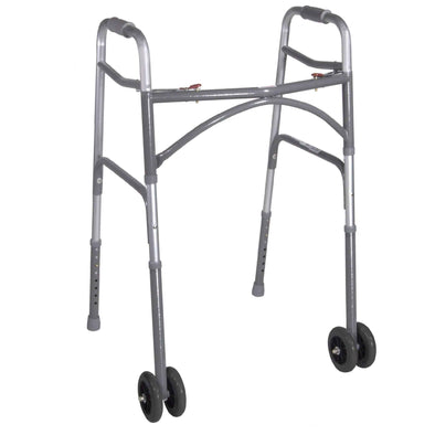 Drive Medical Heavy Duty Bariatric Two Button Walker with Wheels - Senior.com Walkers