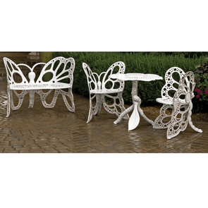FlowerHouse Deluxe Butterfly Garden Patio Set - Includes Table, Bench, and 2 Butterfly Chairs - Senior.com Patio Furniture