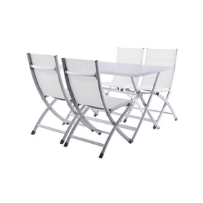 Vivere BRUC5-WH Aluminum Brunch Set - Folding Table and 4 Folding Chairs