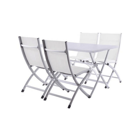 Vivere Aluminum Brunch Set - Folding Table and 4 Folding Chairs - Senior.com Patio Furniture