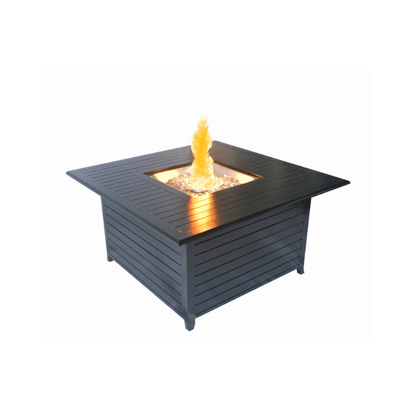 Sunheat Square Propane Outdoor Fire Pit with Cover - Hammered Black - Senior.com Fire Pits