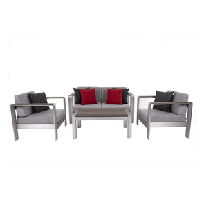 Vivere Sunbrella 4-Piece Conversation Set - Brushed Aluminum with 6 Throw Pillows