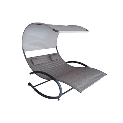 Vivere Double Chaise Outdoor Rocking Chairs with Sun Shade & Steel Frame - Senior.com Outdoor Chairs