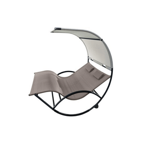 Vivere Double Chaise Aluminum Outdoor Rocking Chairs with Sun Shade