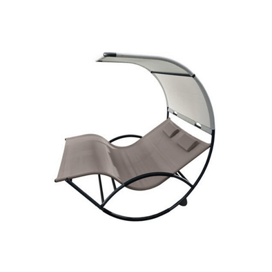 Vivere Double Chaise Aluminum Outdoor Rocking Chairs with Sun Shade - Senior.com Outdoor Chairs