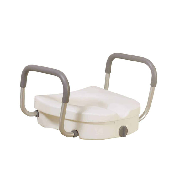 Drive Medical Raised Toilet Seat with Removable Padded Arms Standard Seat
