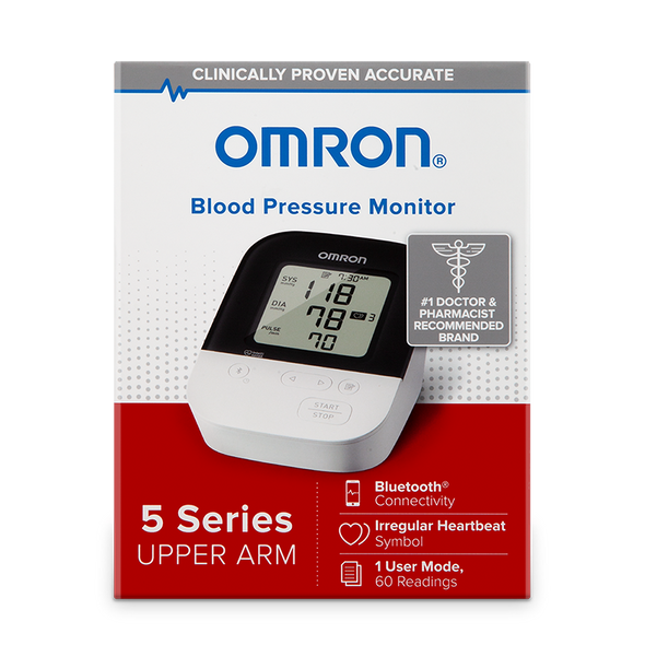Omron 5 Series Wireless Upper Arm Blood Pressure Monitor - 60 Readings - Senior.com Blood Pressure Monitors