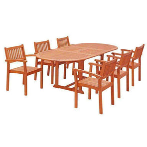Vifah Malibu 7-piece Wood Outdoor Dining Set with Extension Table and Stacking Chairs - Senior.com Patio Furniture