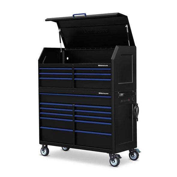 Montezuma 56 X 24 Inch Tool Box & Rolling Tool Cabinet With Multiple Power Outlets - Senior.com Tool Cabinets