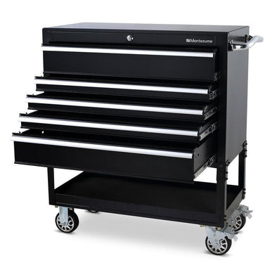 Montezuma Tool Box Rolling 36 Inch Utility Cart with 5 Drawers - Senior.com Tool Cabinets