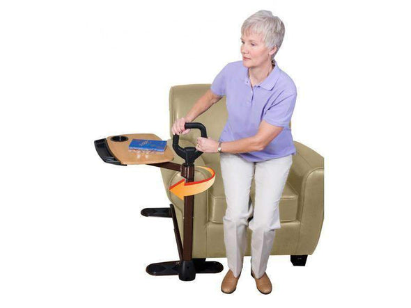 Stander Tray Table - Ergonomic  Bamboo Swivel TV Laptop Tray - Safety Support Mobility Handle - Senior.com Bed Rails