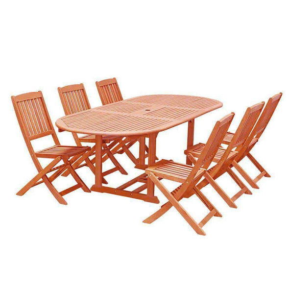Vifah Malibu Outdoor 7-piece Wood Patio Dining Set with Extension Table & Folding Chairs - Senior.com Patio Furniture
