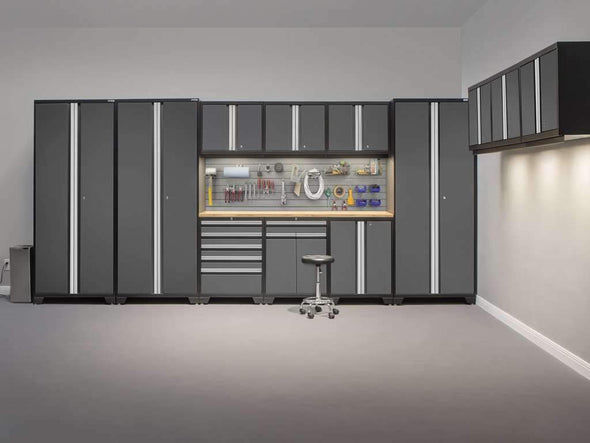 New Age Products Pro 3.0 Series 14 PC Set Garage Cabinet Set with Workbench - Senior.com Garage Cabinets
