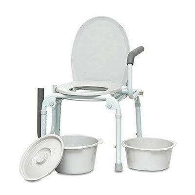 ProBasics Steel Drop Arm Commode - Height Adjustable with Splash Guard - Senior.com Commodes