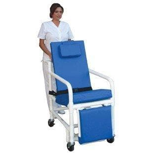 MJM International PVC 3-Position Reclining Geriatric Chair with Elevating Leg Rests - Senior.com PVC Shower Chairs