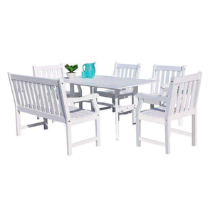 Vifah Bradley Outdoor 6-piece Wood Patio Dining Set with 4-foot Bench in White