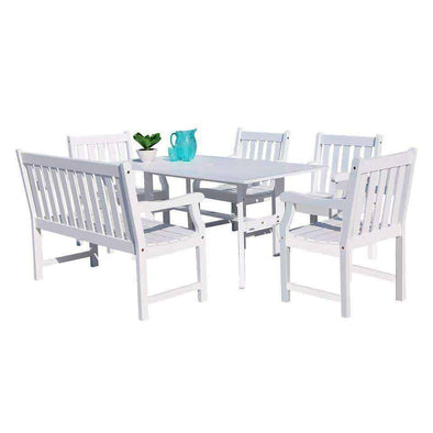 Vifah Bradley Outdoor 6-piece Wood Patio Dining Set with 4-foot Bench in White - Senior.com Patio Furniture