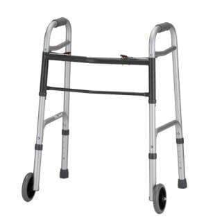 "Nova Medical 2-Button Folding Walker with 5"" Wheels - Small Adult - Senior.com walkers"