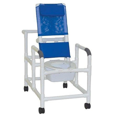 MJM International Echo Reclining Shower Chair w/ Deluxe Elongated Commode & Pail - Senior.com Shower Chairs