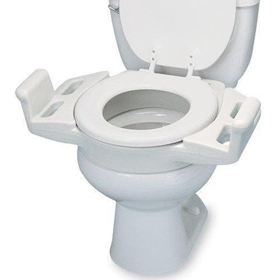 Maddak Elevated Push Up Toilet Seat with Armrest - Senior.com Toilet Seat Risers