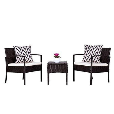 Vifah Cyrus 3-Piece Cushioned Compact Outdoor/Indoor Wicker Coffee Set