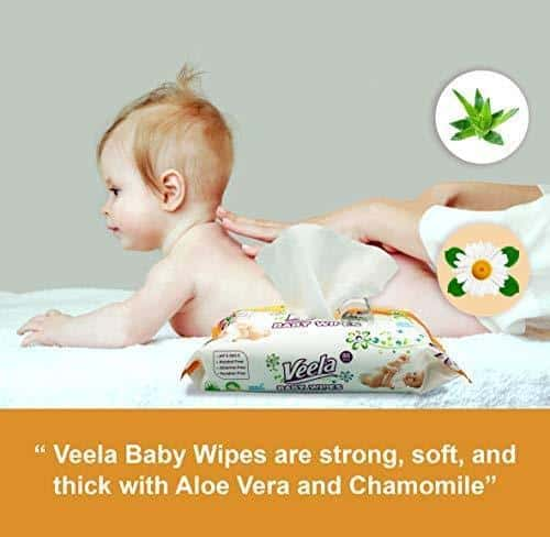 Veela Baby Wipes with Aloe Vera - 80 Wipes Per Tub