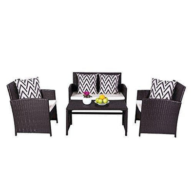 Cyrus 4-Piece Cushioned Compact Outdoor/Indoor Patio Garden Wicker Dining & Coffee Set