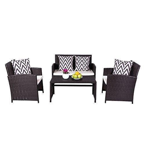 Vifah Cyrus 4-Piece Cushioned Compact Outdoor/Indoor Wicker Dining & Coffee Set - Senior.com Outdoor Furniture Sets