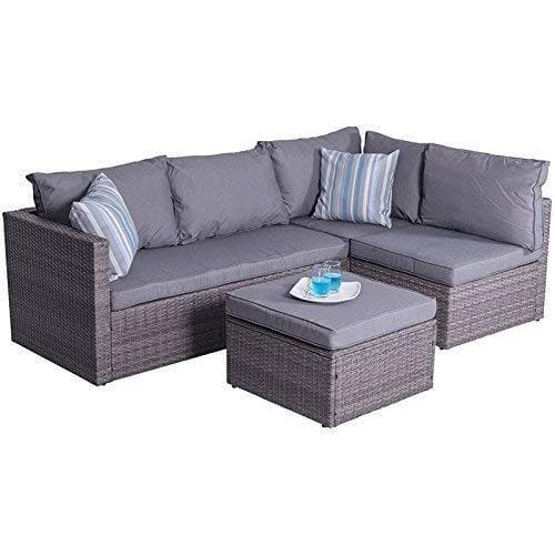 Vifah Outdoor/Indoor Cyrus 4-Piece Cushioned Compact Sectional Sofa Set - Senior.com Outdoor Furniture Sets