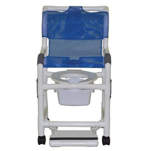 "MJM International Standard Shower Chair with Drop Arms, Slide Out Footrest and Commode Pail, 300 oz Capacity, 40.5"" Height x 22"" Width x 25.25"" Depth, Royal Blue"