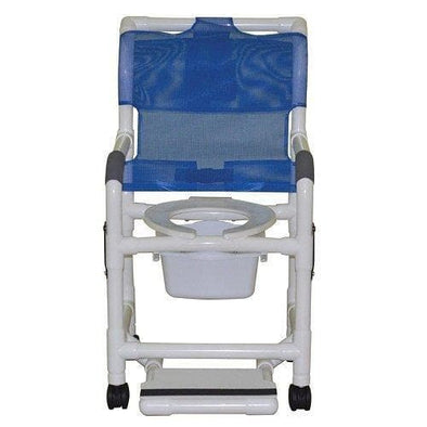 MJM International Standard Shower Chair with Drop Arms, Slide Out Footrest and Commode Pail - Senior.com Bath Benches & Seats