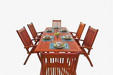 Vifah Malibu Outdoor 7-piece Wood Patio Dining Set with Extension Table & Reclining Chairs - Senior.com Patio Furniture