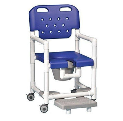 IPU Elite Rolling PVC Shower Chair Commode with Slide-Out Footrests - Senior.com PVC Shower Chairs