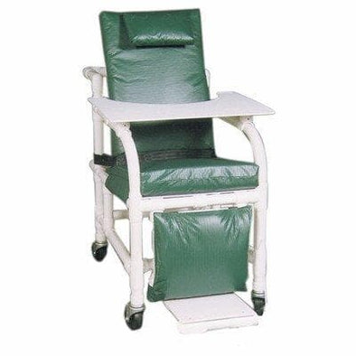 MJM International Bariatric Extra Wide Geriatric PVC Padded Chair with Leg Extensions & Tray - Senior.com PVC Shower Chairs