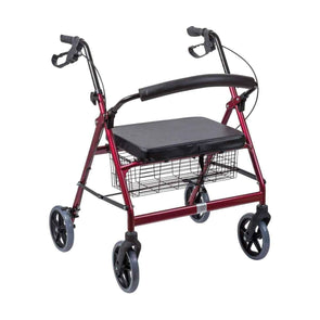DMI Extra-Wide Heavy Duty Steel Bariatric Rollator Walker - Red