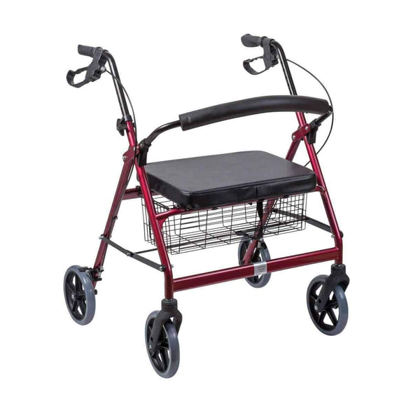 DMI Extra-Wide Heavy Duty Steel Bariatric Rollator Walker - Red - Senior.com Rollators