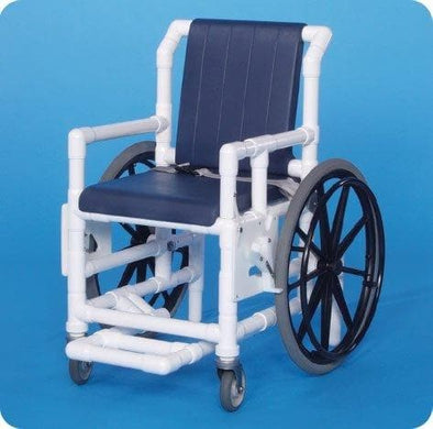 IPU Shower Access Transport Wheelchair Chair with Deluxe Flat Seat & Footrest - Senior.com PVC Shower Chairs